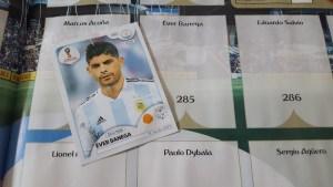 intérieur album Panini avec étiquette autocollante joueur argentin