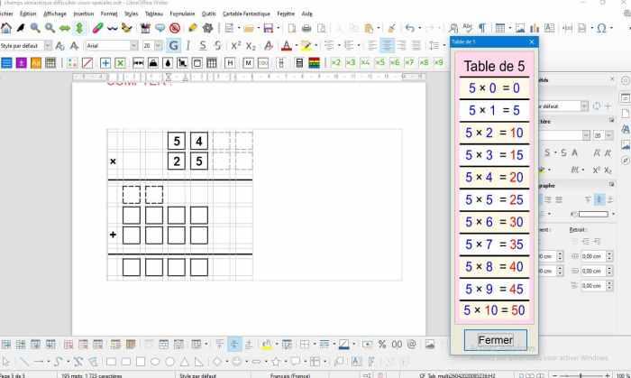 un outil pour adapter les supports d'apprentissage qui permet d'utiliser une grille pour poser les opérations.