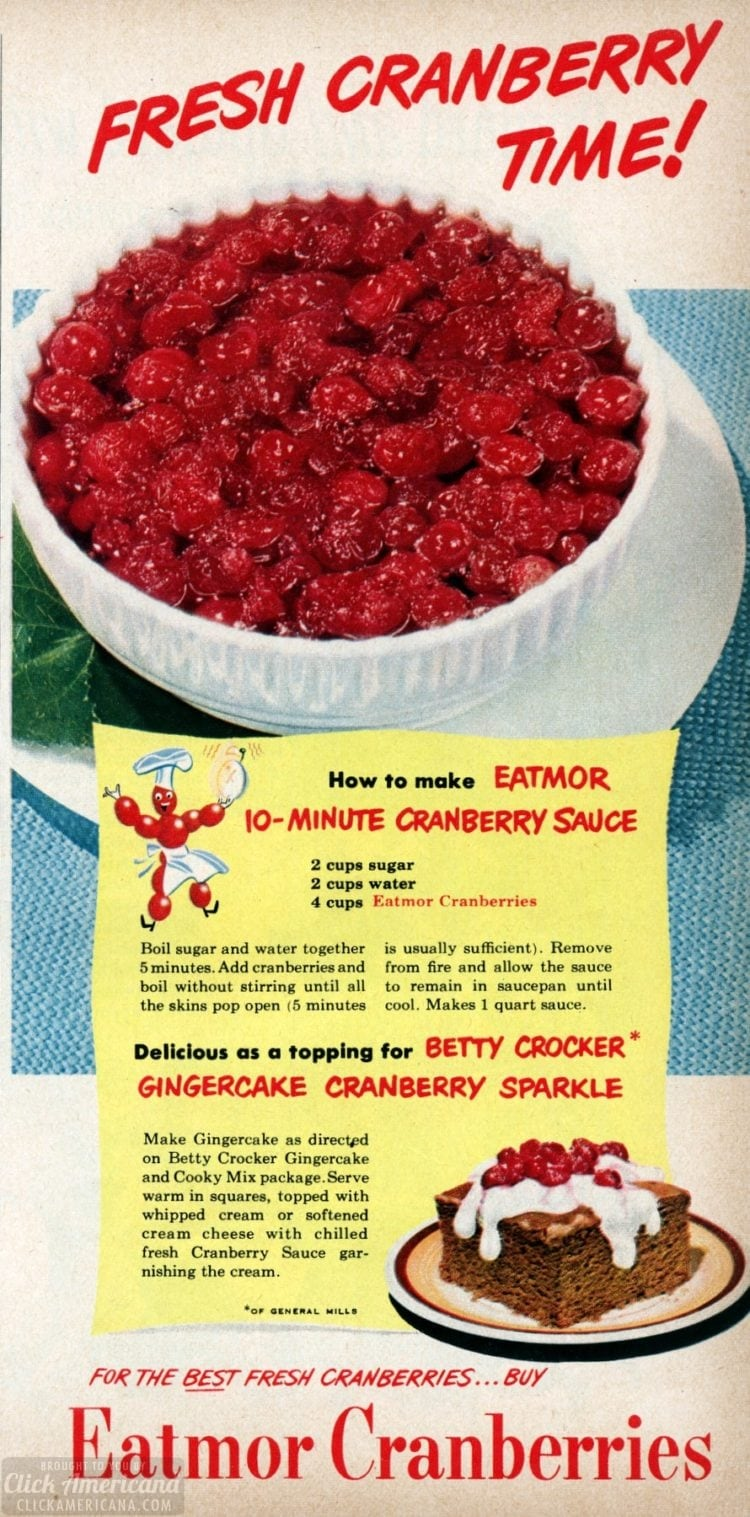 Recipes for classic cranberry sauces from 1950