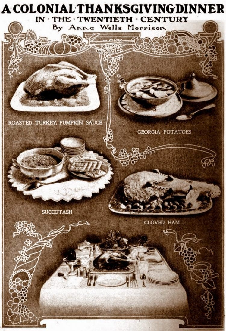 Recipes for a Colonial-style Thanksgiving dinner in the twentieth century (1902)