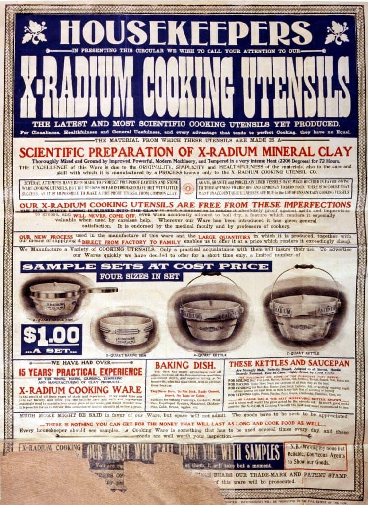 1905 - X-radium cookware