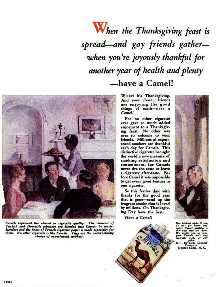 1926 - Thanksgiving Camel cigarettes
