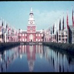 World's Fair 1939: Court of States across reflecting pool, toward replica of Philadelphia's Independence Hall