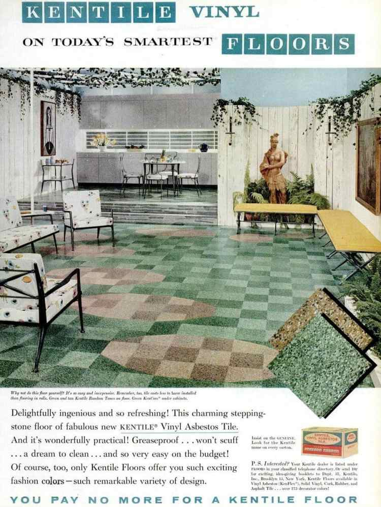 1958 vinyl asbestos tile from Kentile - green with inlaid beige circles