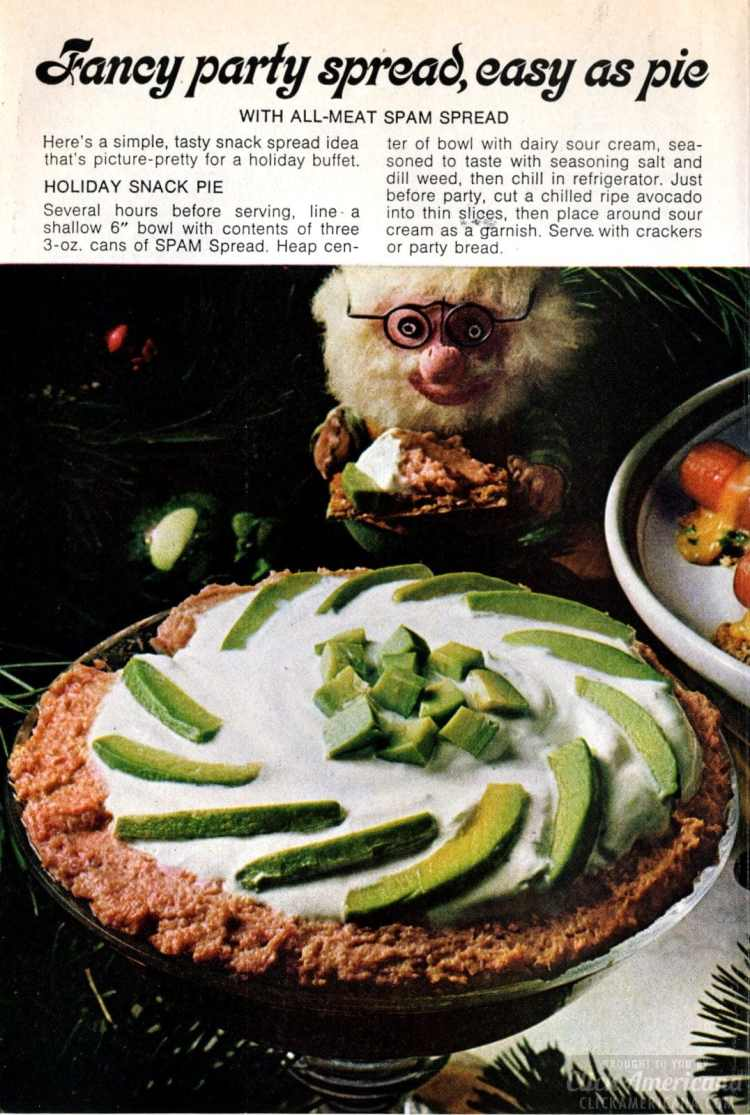 1972 Holiday snack pie made with spam spread, sour cream and avocado - Vintage Christmas appetizer
