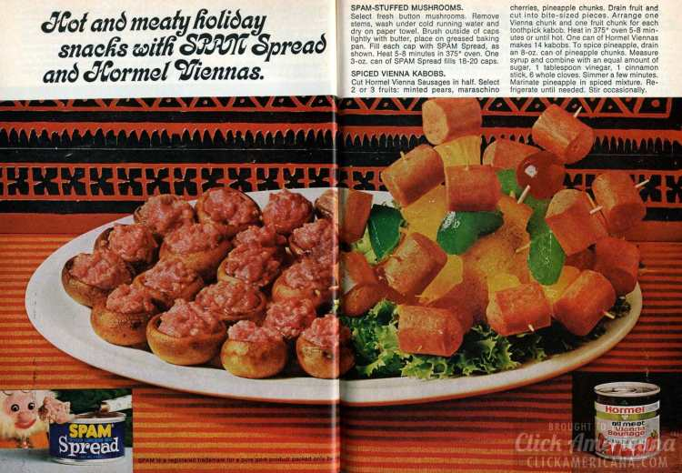 1973 vintage Christmas party appetizers - Spam and Hormel