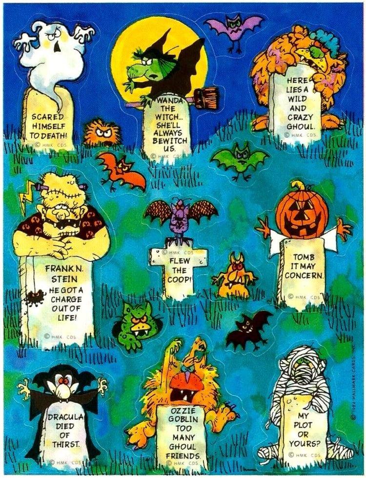 1984-Hallmark-Halloween-stickers-cemetery tombstones