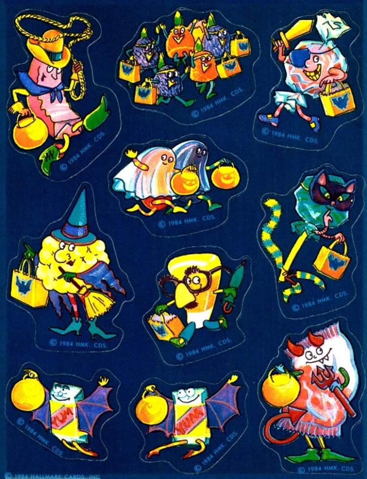 1984-Hallmark-Halloween-stickers - characters in costume