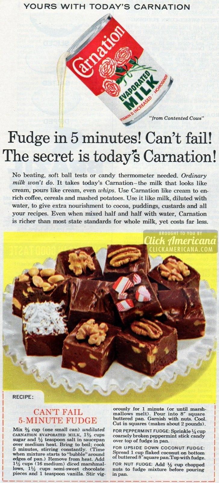 Can T Fail 5 Minute Fudge Recipe 1950s Amp 1960s Click