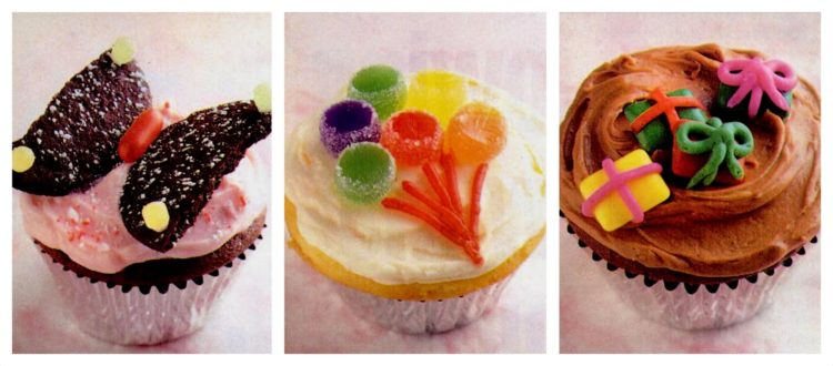 6 cute cupcakes with fluffy frosting and delicious decorations (1995)