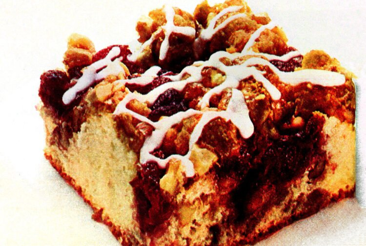 A classic breakfast recipe from the '70s for cranberry-nut coffee cake