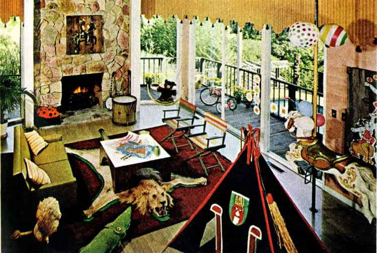 A mid-century modern home design The family room