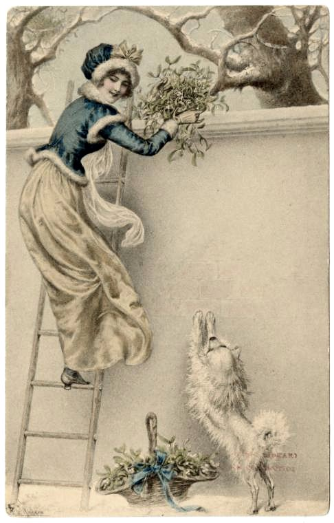 Antique Christmas cards with dogs - vintage postcards (2)