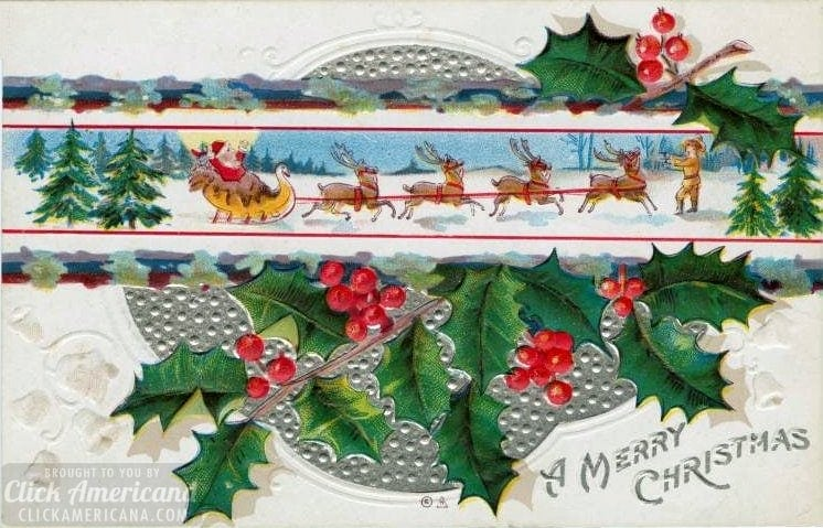 Antique and vintage Christmas postcards from the early 1900s for L M Montgomery's short story Christmas at Red Butte