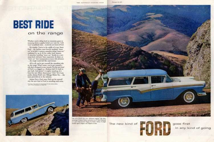 Best ride on the range Ford's new glamour wagons (1957)