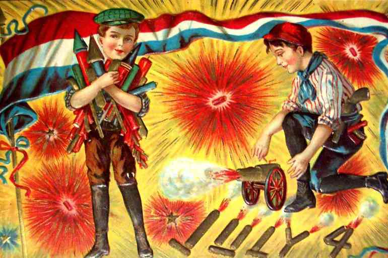 Boys with fireworks for 4th of July - Vintage postcard