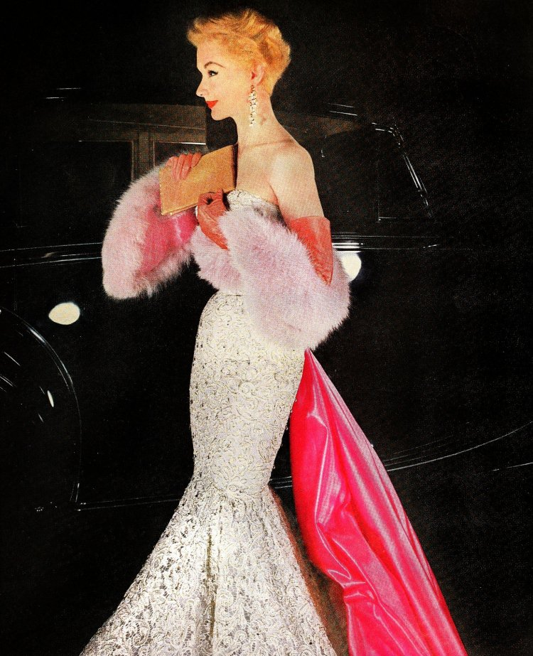 Bright pink accessories for white lace mermaid dress 1954