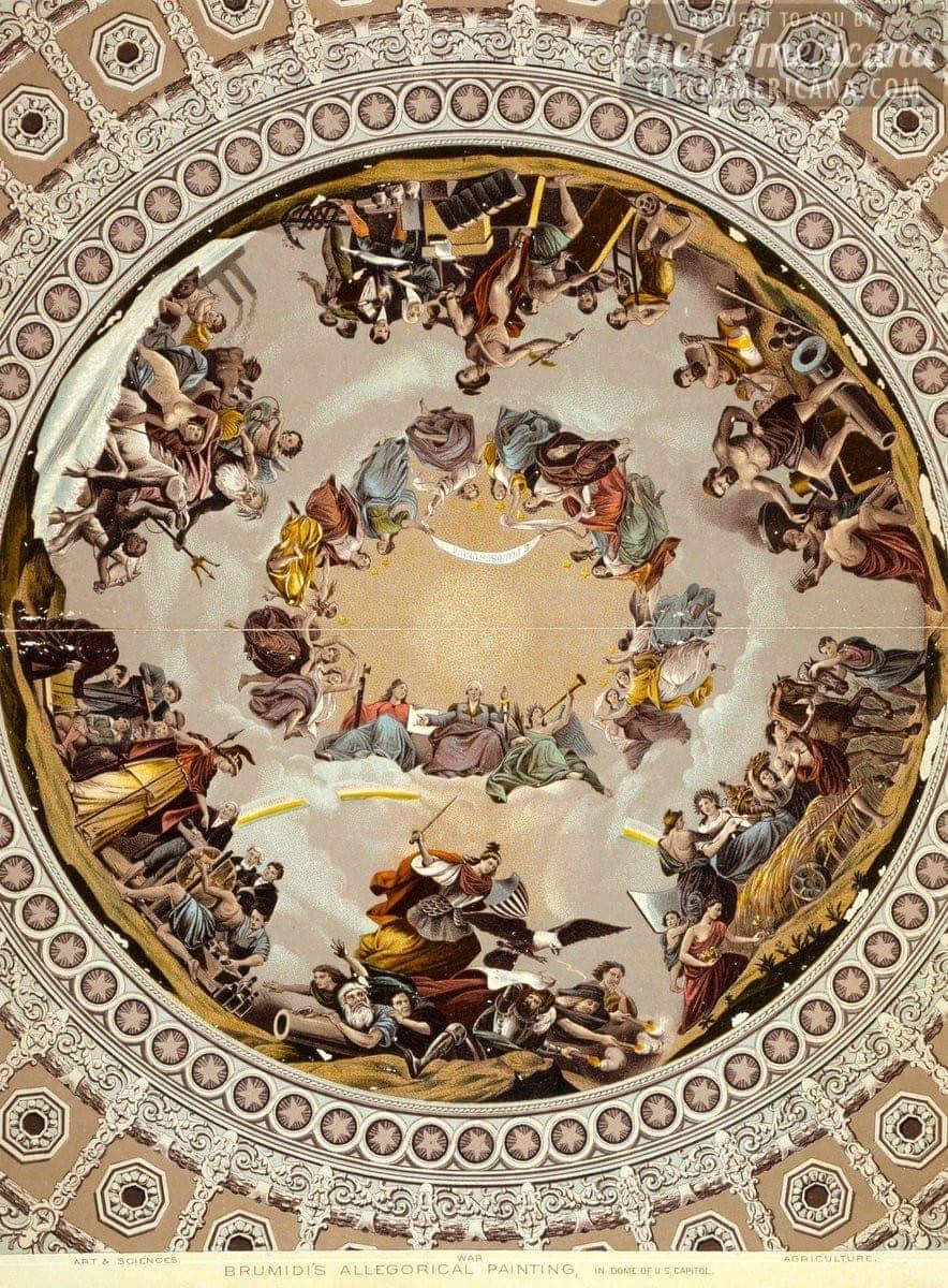 Apotheosis Of Washington In The Capitol Dome 1865