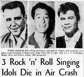 The day the music died: Buddy Holly, Ritchie Valens & Big Bopper killed in plane  crash (1959) - Click Americana