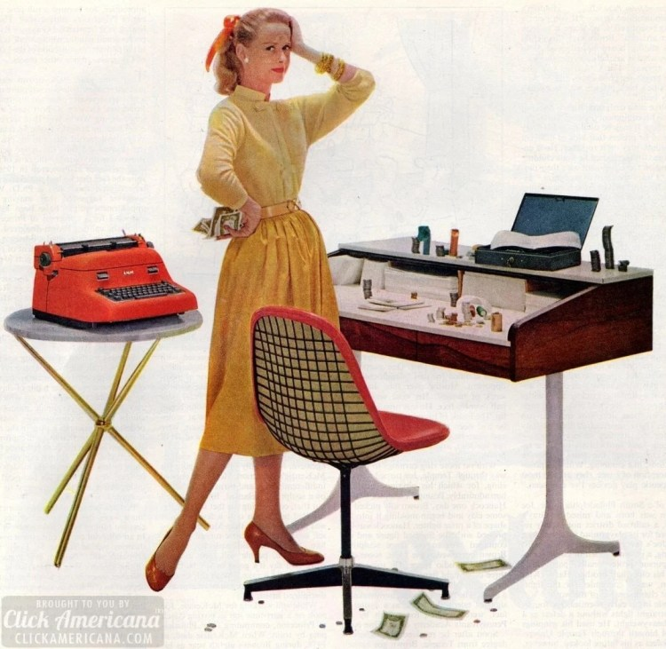 Busy modern secretary in 1957