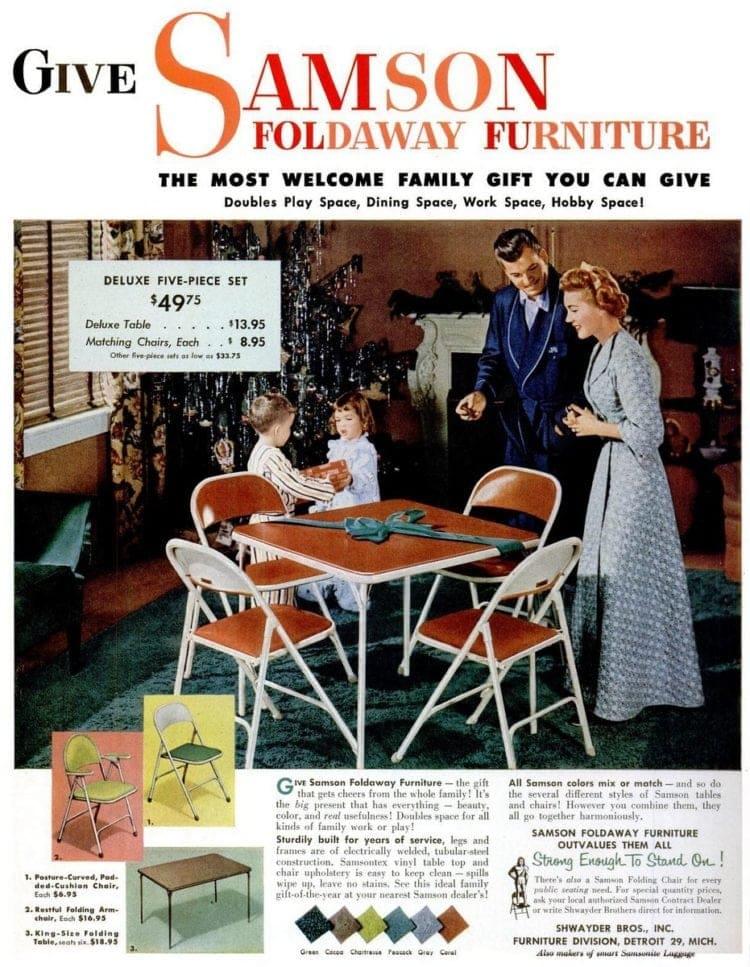 Card tables Give Samson foldaway furniture(1952)