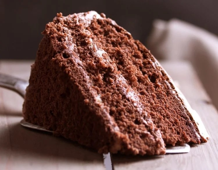 A piece of chocolate cake on wooden background