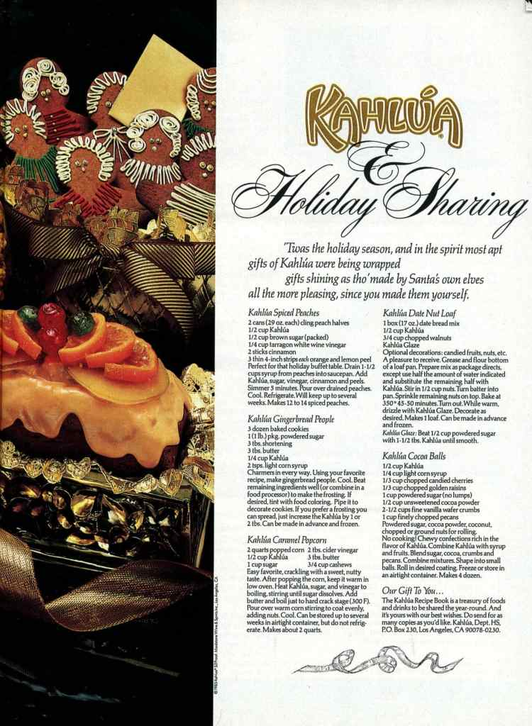 Chocolates, caramel popcorn, date-nut loaf & other holiday recipes with Kahlua liqueur (1987)
