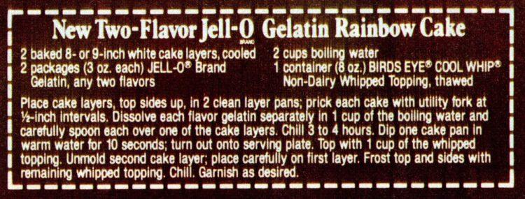 Classic Jell-O Rainbow Poke Cake recipe card