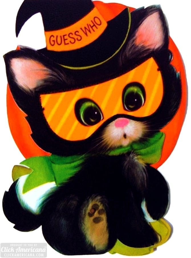 Cute black cat vintage Halloween greeting card