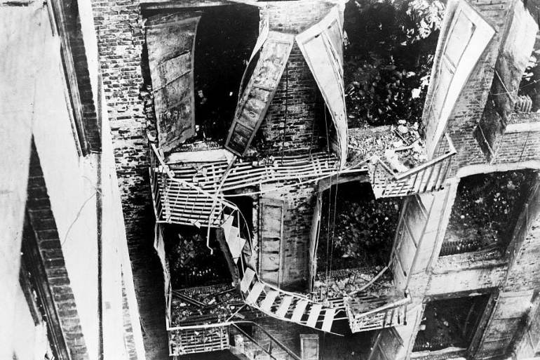 Damaged fire escape at the Triangle shirtwaist factory