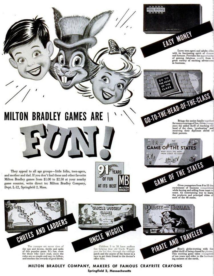 Dec 3, 1951 Classic Milton Bradley board games