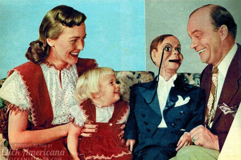 Edgar Bergen and Charlie McCarthy with young Candice Bergen