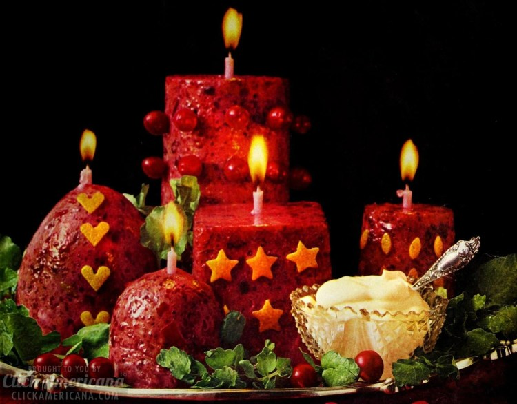 Edible cranberry candles for a salad - with mayo from 1966 at Click Americana (2)