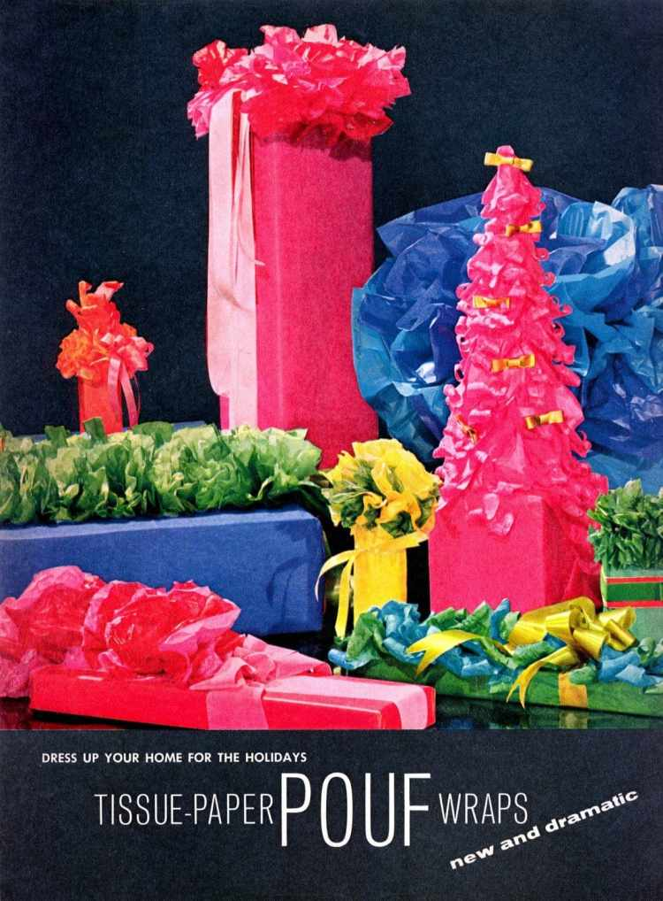 Festive and fancy ways to wrap gifts with tissue paper - ideas from the 1960s (1)