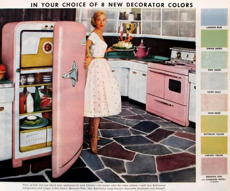 Fridges from 1955 in decorator colors to match the kitchen