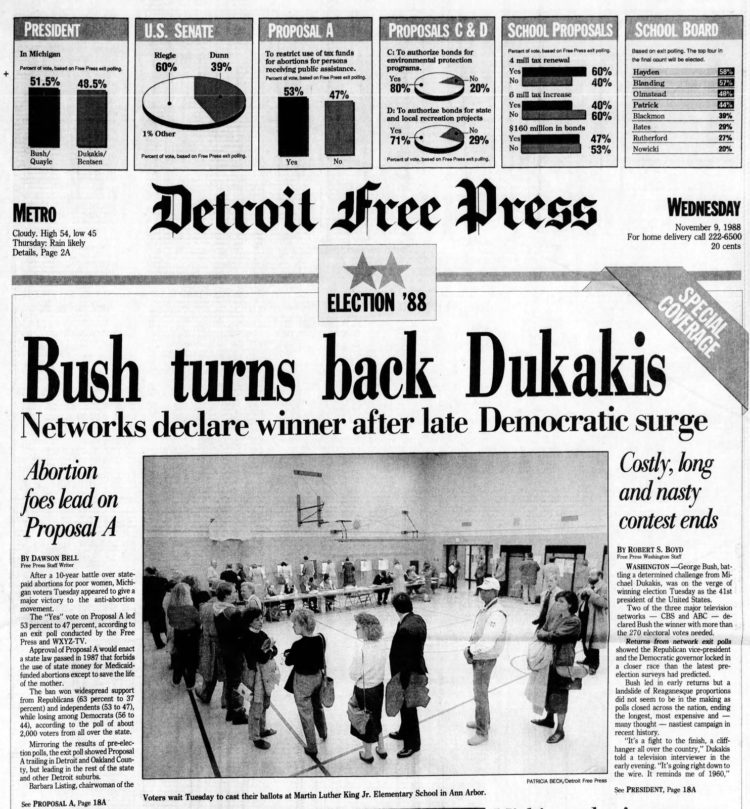 George H W Bush elected President - Newspaper headlines from Detroit Free Press - November 9 1988