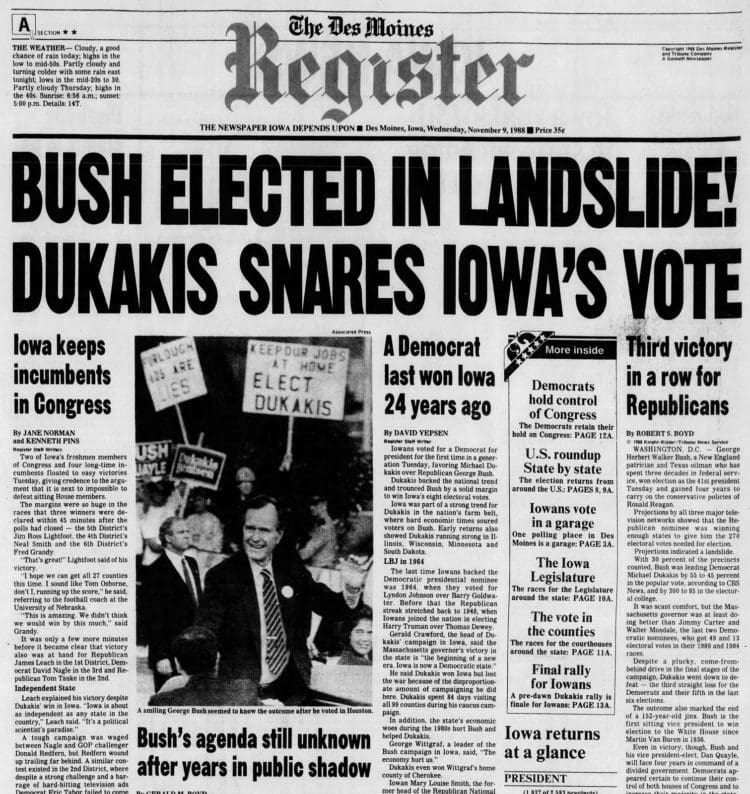 George H W Bush elected President - Newspaper headlines from The Des Moines Register - November 9 1988