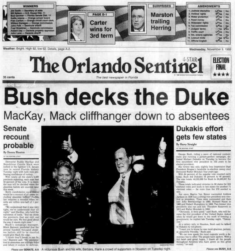 George H W Bush elected President - Newspaper headlines from The Orlando Sentinel - November 9 1988