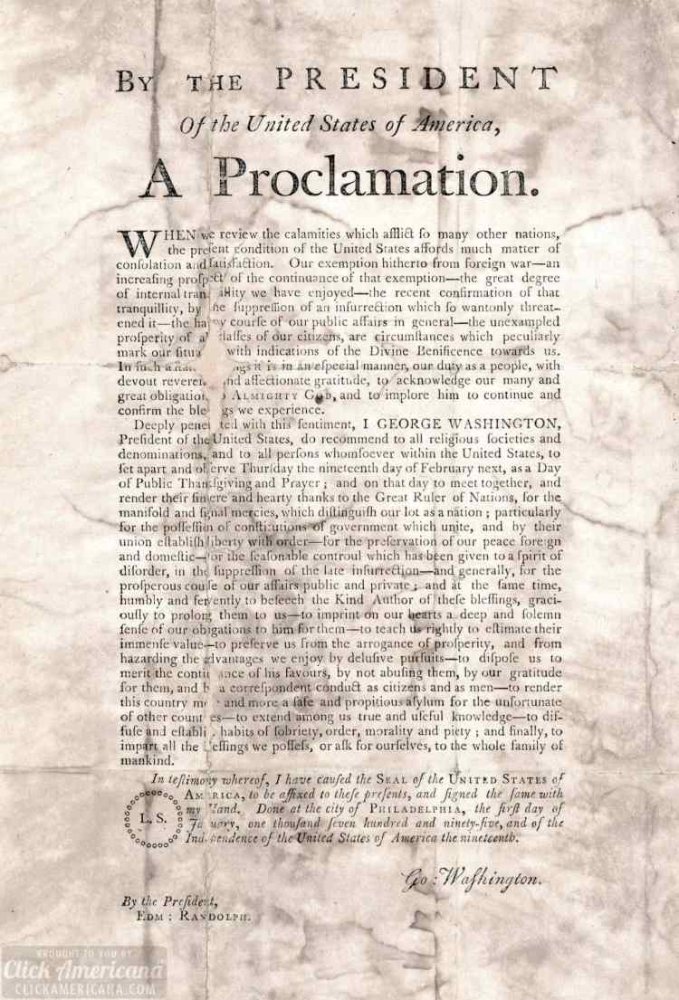 George Washington's Thanksgiving Proclamation from 1795