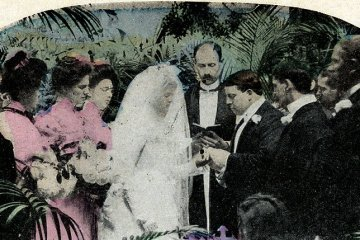Getting ready for a Victorian wedding Church decor and flowers (1893)