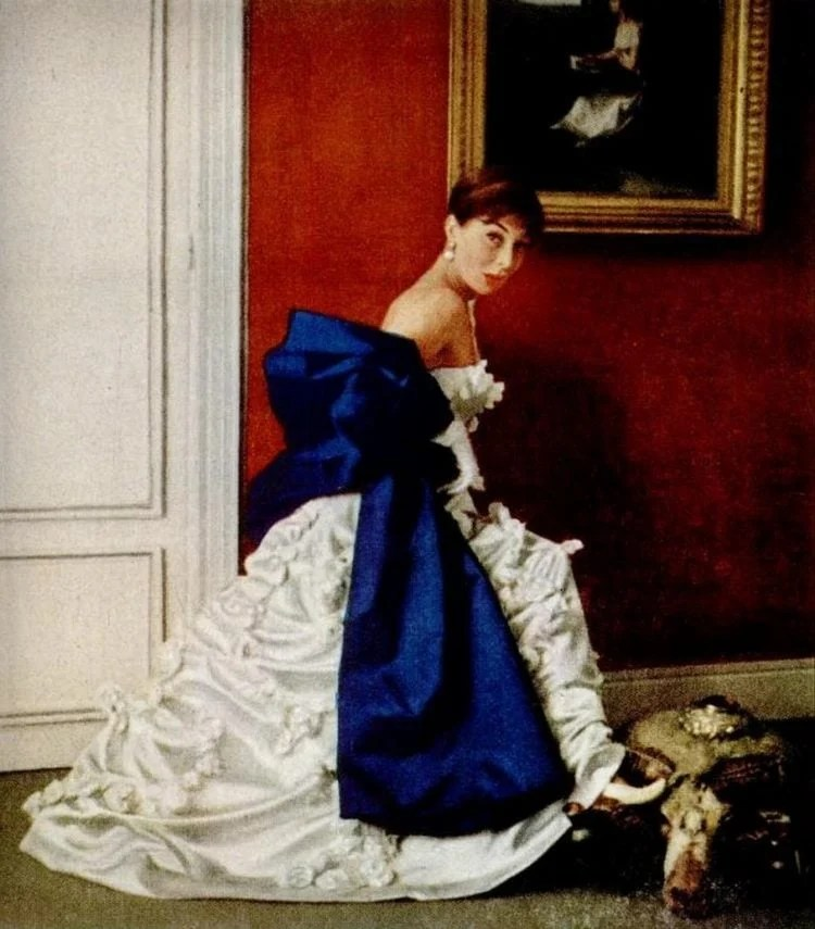 Givenchy satin appliqued dress from 1953