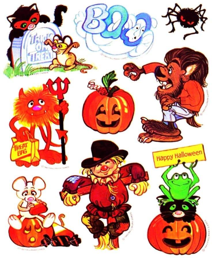 Halloween Sticker Sheet - various characters pumpkins scarecrows