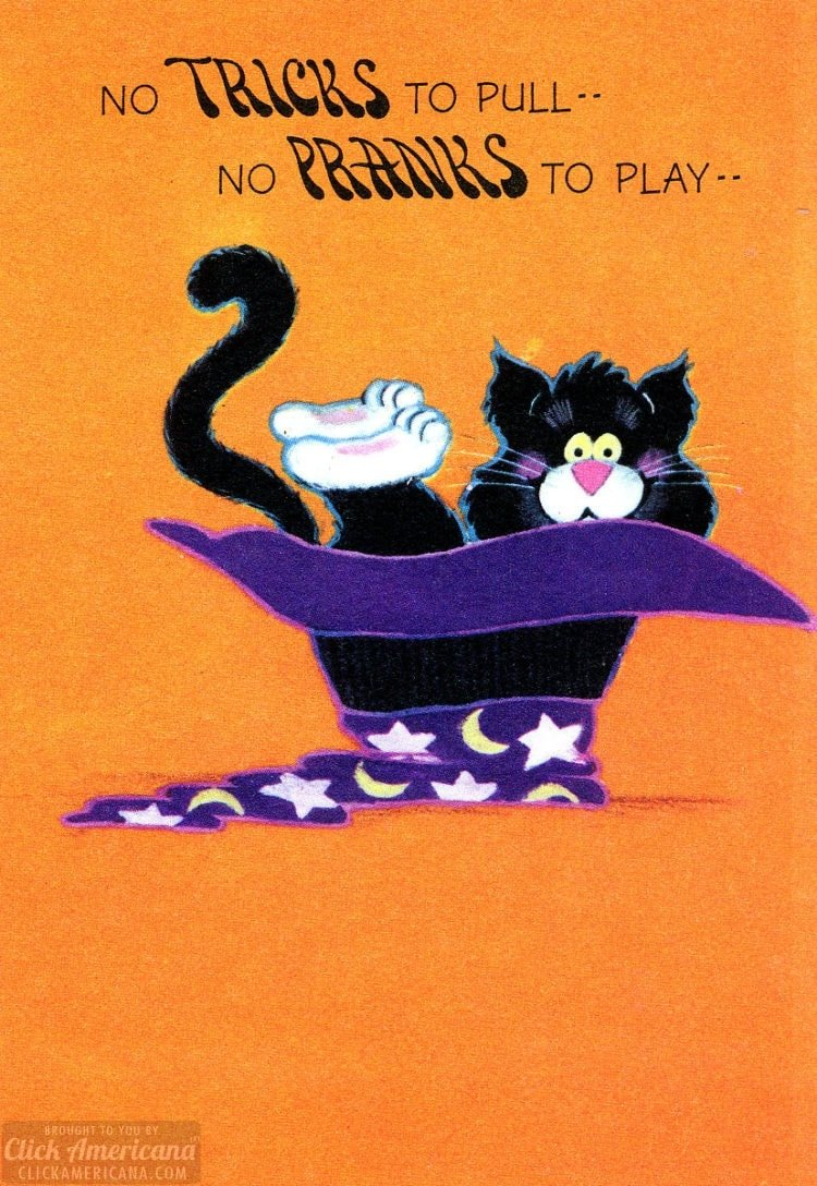 Halloween card with a black cat sitting inside a magician's hat (1977)