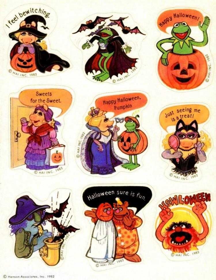 Halloween sticker sheet with Muppets-Hallmark-1982