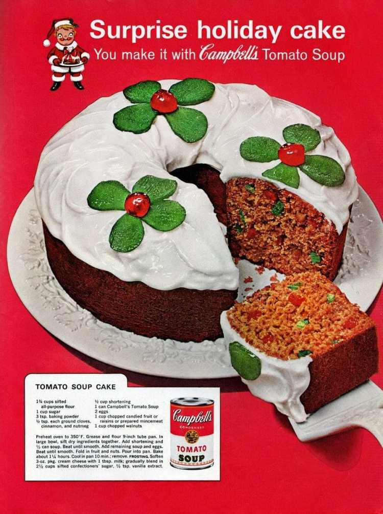 Tomato soup fruitcake for a very retro Christmas (1960s)