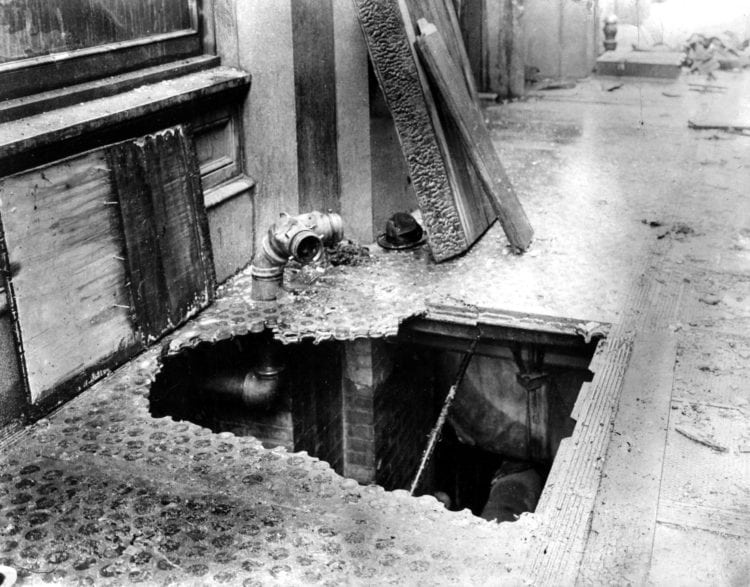 Hole at the Bottom of a Fire Escape after the Triangle Shirtwaist Factory Fire
