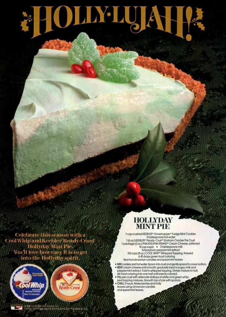 Hollyday mint pie vintage recipe