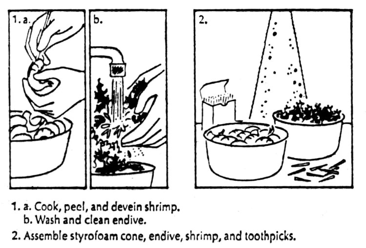 How to make a shrimp Christmas tree - step-by-step from 1974 (2)