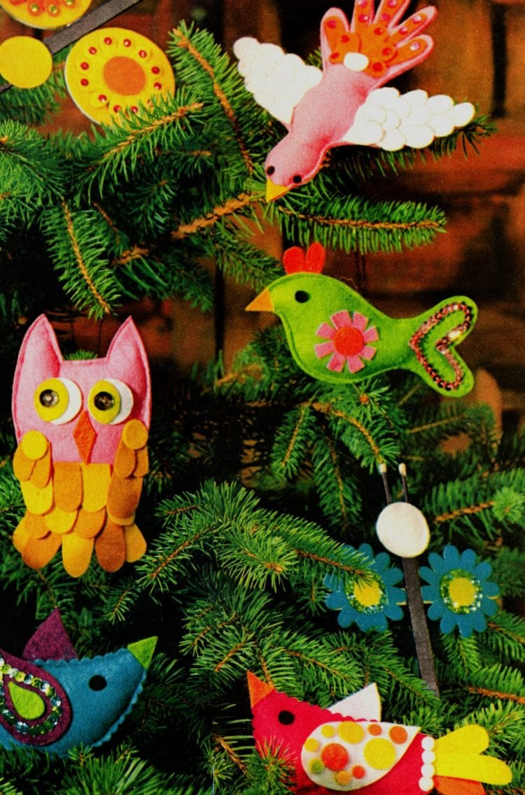 How to make adorable retro ornaments shaped like birds and butterflies (2)