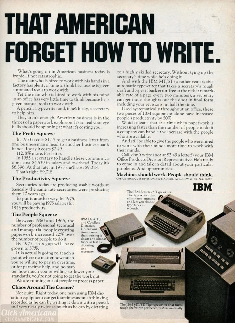 IBM MT/ST, desktop and cordless dictation units, Selectric typewriter 1967